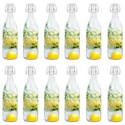 Flessen met beugelsluiting 12 st 1 L glas