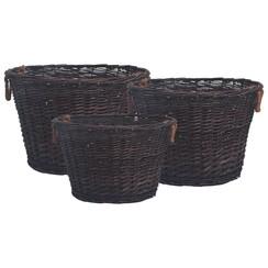 3-delige Houtmandenset stapelbaar wilgenhout donkerbruin