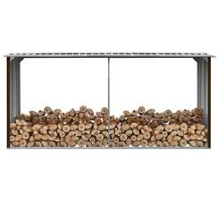 Haardhoutschuur 330x92x153 cm gegalvaniseerd staal bruin