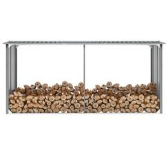 Haardhoutschuur 330x92x153 cm gegalvaniseerd staal grijs