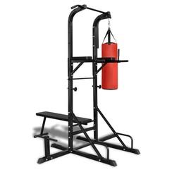 Fitness apparaat kracht met bankje en boksbal