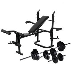 Gewichtenbank met gewichtenrek en halterset 30,5 kg