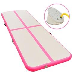 Gymnastiekmat met pomp opblaasbaar 700x100x10 cm PVC roze