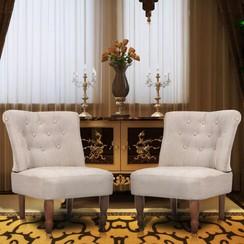 Franse stoelen 2 st stof crème