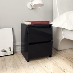 Nachtkastjes 2 st 30x30x40 cm spaanplaat hoogglans zwart