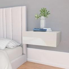 Nachtkastjes 2 st zwevend 40x30x15 cm spaanplaat hoogglans wit