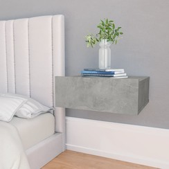 Nachtkastje zwevend 40x30x15 cm spaanplaat betongrijs