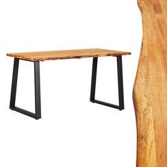 Eettafel 140x80x75 cm massief eikenhout natuurlijk