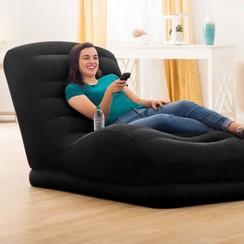 Mega lounger opblaasbaar kunstleer zwart