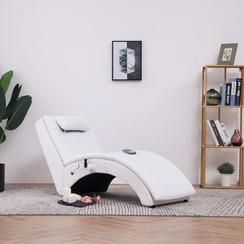 Massage chaise longue met kussen kunstleer wit