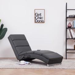 Massage chaise longue kunstleer grijs