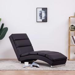 Chaise longue kunstleer bruin