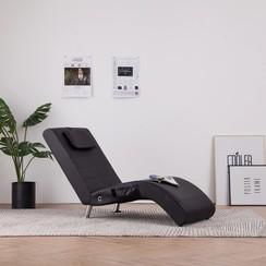 Massage chaise longue met kussen kunstleer bruin