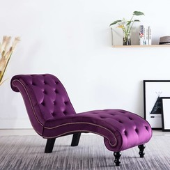 Chaise longue fluweel paars