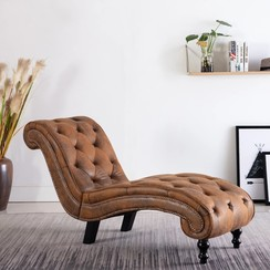 Chaise longue kunstsuède bruin