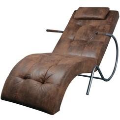 Chaise longue met kussen suède-look stof bruin