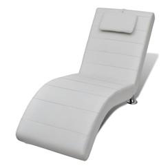 Chaise longue met kussen kunstleer wit