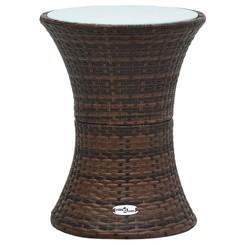 Tuinbijzettafel trommelvormig poly rattan bruin