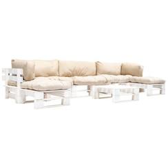 6-delige Loungeset pallet met zandkleurige kussens hout