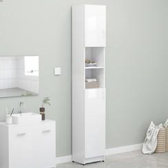 Badkamerkast 32x25,5x190 cm spaanplaat hoogglans wit