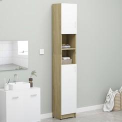 Badkamerkast 32x25,5x190 cm spaanplaat wit en sonoma eikenkleur