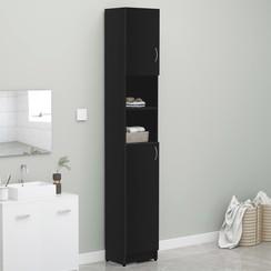 Badkamerkast 32x25,5x190 cm spaanplaat zwart