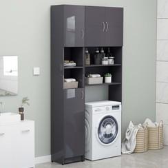 Wasmachinekastenset spaanplaat hoogglans grijs