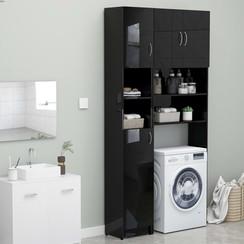 Wasmachinekastenset spaanplaat hoogglans zwart