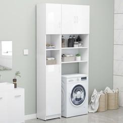 Wasmachinekastenset spaanplaat hoogglans wit