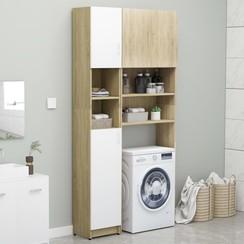 Wasmachinekastenset spaanplaat wit en sonoma eikenkleurig