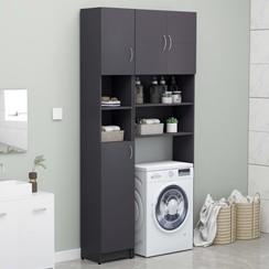 Wasmachinekastenset spaanplaat grijs