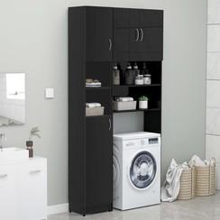Wasmachinekastenset spaanplaat zwart