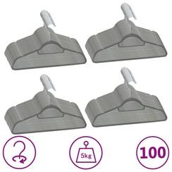 100-delige Kledinghangerset anti-slip fluweel grijs