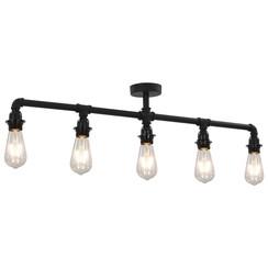 Plafondlamp 5xE27 zwart