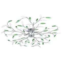 Plafondlamp met acryl kristallen bladarmen voor 5xE14 groen