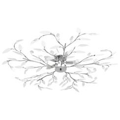 Plafondlamp met acryl kristallen bladarmen voor 5xE14 wit