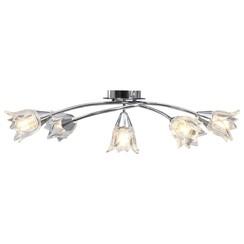 Plafondlamp met glazen tulpvormige kappen 5xE14 transparant