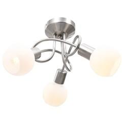 Plafondlamp met keramieken bolvormige kappen voor 3xE14 wit