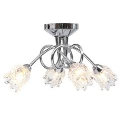 Plafondlamp met glazen bloem lampenkappen voor 4 x G9 peertjes