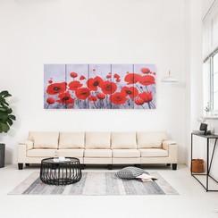 Wandprintset bloem 200x80 cm canvas meerkleurig
