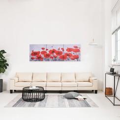 Wandprintset bloem 120x40 cm canvas meerkleurig