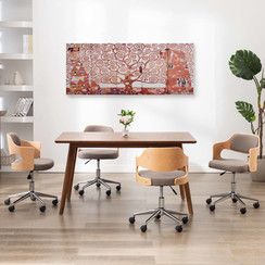 Wandprintset boom 150x60 cm canvas geel