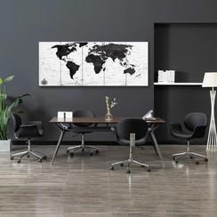 Wandprintset wereldkaart 200x80 cm canvas wit