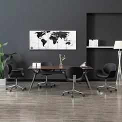 Wandprintset wereldkaart 150x60 cm canvas wit