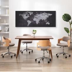 Wandprintset wereldkaart 200x80 cm canvas zwart