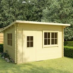 Blokhut met vloer 44 mm 400x300x236 cm massief grenenhout