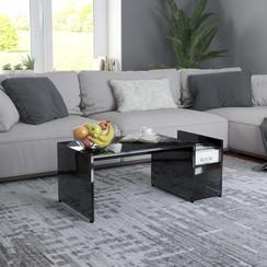 Salontafel 90x45x35 cm spaanplaat hoogglans zwart