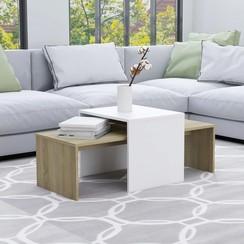 Salontafelset 100x48x40 cm spaanplaat wit en sonoma eikenkleur
