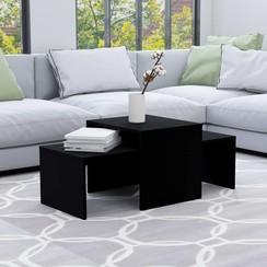 Salontafelset 100x48x40 cm spaanplaat zwart