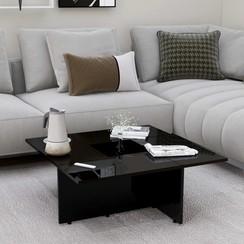 Salontafel 79,5x79,5x30 cm spaanplaat hoogglans zwart
